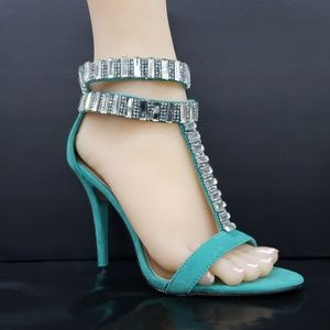 "Green 4.25"" high heel T Strap  closed back sandal"